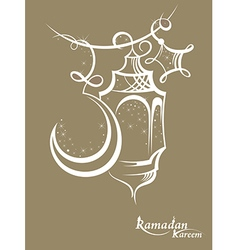 Ramadan kareem background with lamps vector