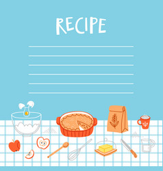 Recipe template with cooking background vector