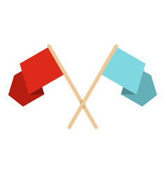 Red and blue crossed flags icon isolated vector