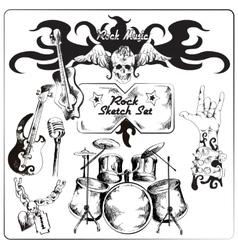 Rock music sketch set vector image vector image
