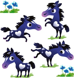Set of black pony vector image