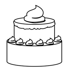 Sketch contour of hand drawing two-story cake with vector
