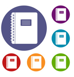 Spiral notepad icons set vector