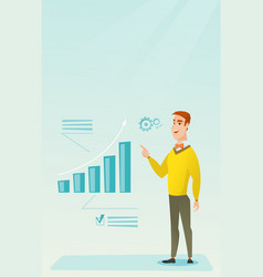 Successful businessman pointing at chart going up vector