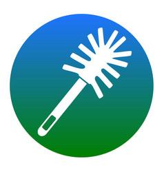 Toilet brush doodle white icon in bluish vector