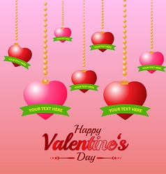 Valentines Day Heart and Ribbon on Pink Background vector image vector image