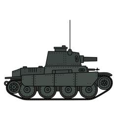 Vintage dark green tank vector