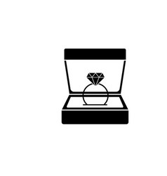 Wedding diamond ring in gift box solid icon vector