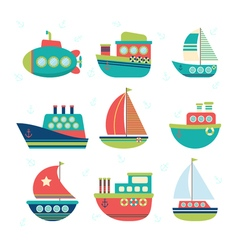 Different kind of boats set of sea transport vector