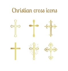 Golden christian cross set vector