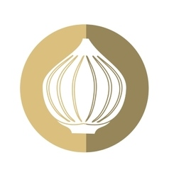 Onion vegetable spicy natural icon beige circle vector