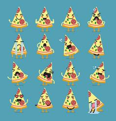 Pizza character emoji set vector