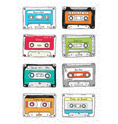 set of plastic cassette audio tape with different vector image