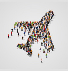 large group of people in the airplane shape vector image