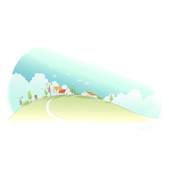Rural houses green mountain vector