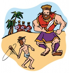 David and Goliath vector image