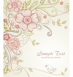 Hand-drawn sketch floral composition vector