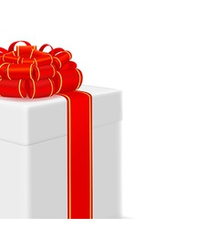 box with red ribbon on white background vector image