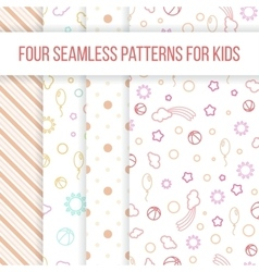 Set of seamless patterns for little girl vector