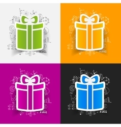 Drawing business formulas gift box vector