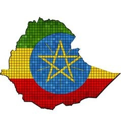 Ethiopia map with flag inside vector