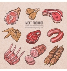 Meat products color sketches vector