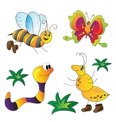 Cartoon cute insects vector