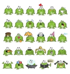 Emotional cute frogs vector