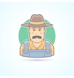 Farmer in an overalls and a hat village man icon vector