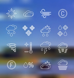 White outline forecast icons set landscape vector