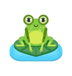 Smiling cartoon frog character vector