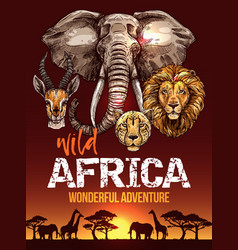 African safari poster with wild animals sketches vector