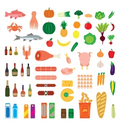 Big collection of food items vector
