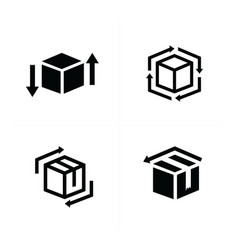 Box and arrow icons set vector