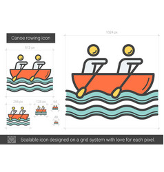 Canoe rowing line icon vector
