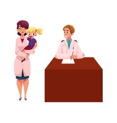Cartoon doctors pediatricians man and woman vector