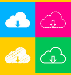 cloud technology sign four styles of icon on four vector image