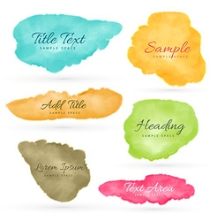 colorful set of watercolor stain vector image vector image