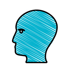 drawing blue profile head idea vector image
