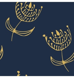 Endless floral patternDeep blue and golden vector image vector image