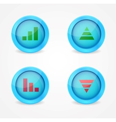 Financial graph set on glossy icons vector image vector image