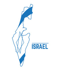 flag and map of israel vector image vector image