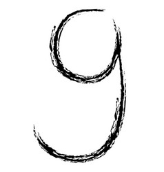 hand drawn number 9 vector image
