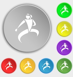 Karate kick icon sign symbol on eight flat buttons vector