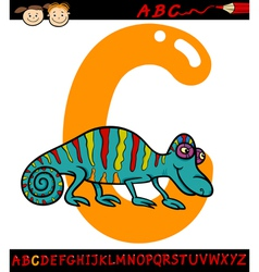 letter c for chameleon cartoon vector image