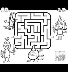 Maze activity game with fantasy characters vector