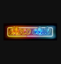 Neon disco club sign vector