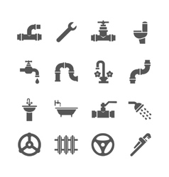 Plumbing service objects tools bathroom vector image vector image