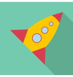 Retro rocket icon flat style vector