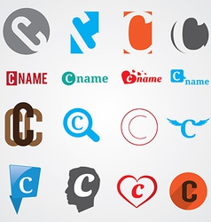Set of alphabet symbols of letter C vector image vector image